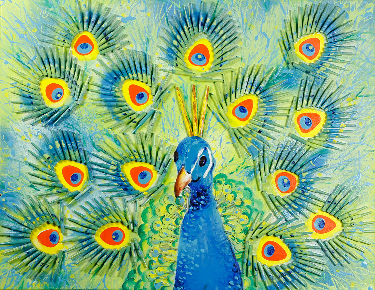 painting of colorful peacock