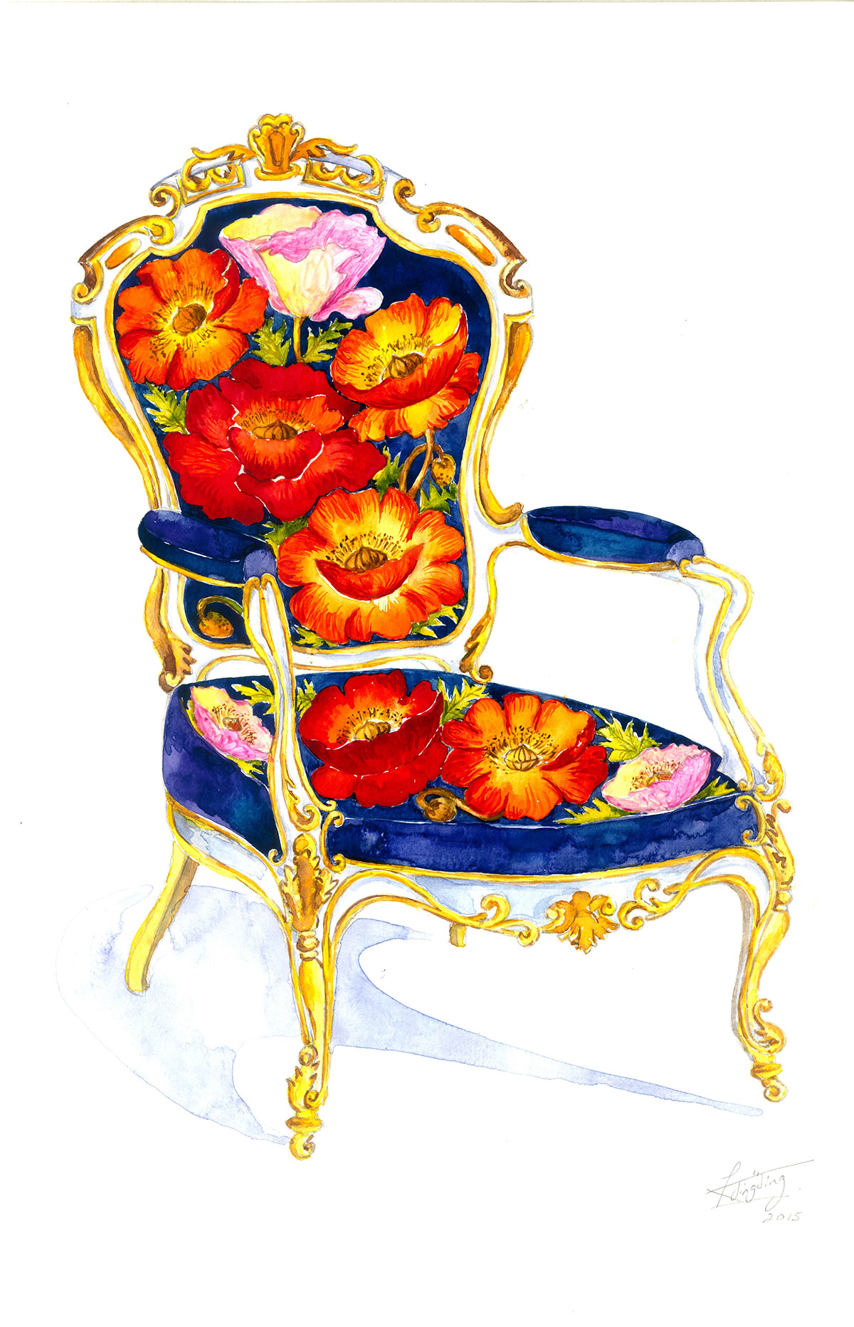 colorful chair with flowers