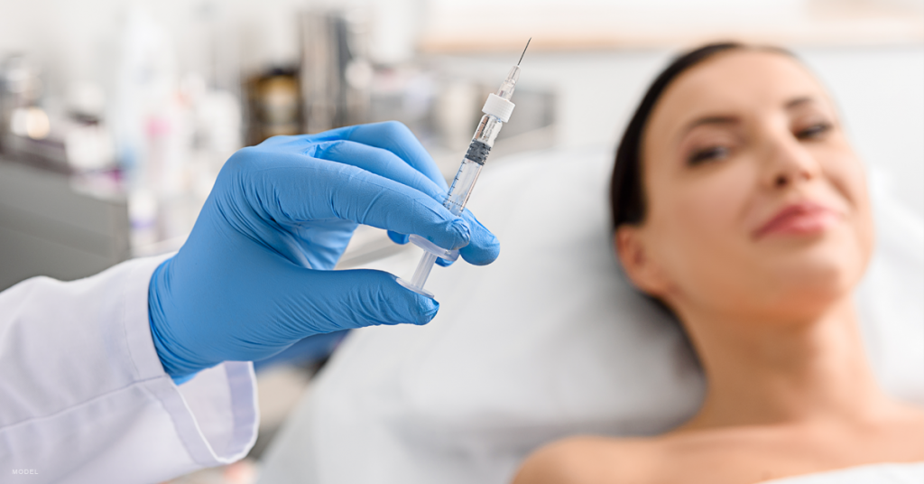 Patient receiving BOTOX injections from an injector.