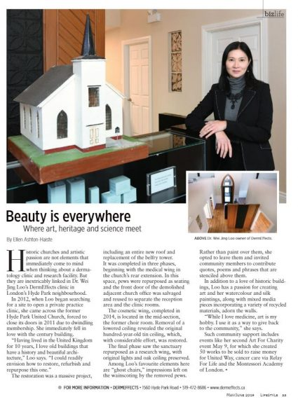 Dr. Loo and model of historic church accompanying Lifestyle Magazine article