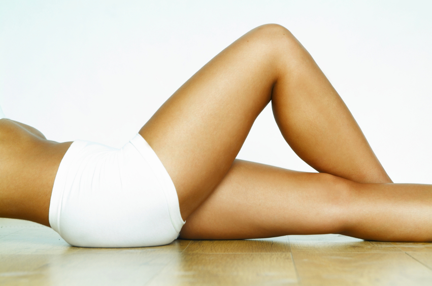 Woman with smooth, clear, and lean legs.